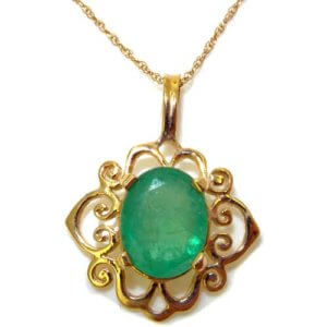Luxury Womens Solid Yellow Gold Ornate 10x8mm Natural Emerald Pendant Necklace