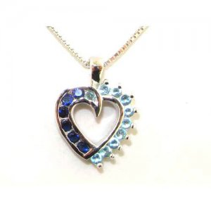 "Luxury Sterling Silver Heart Stone Set Pendant & 16"" Sterling Silver Chain Necklace"