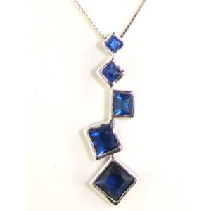 "Luxury High Quality Solid Sterling Silver Sapphire coloured stone set Pendant & 16"" Sterling Silver Chain Necklace"