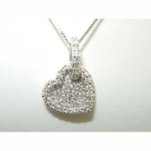 "Luxury Sterling Silver Double Heart Stone Set Pendant & 16"" Sterling Silver Chain Necklace"