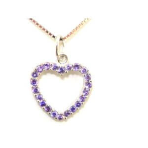 """Luxury Sterling Silver Heart Pendant & 16"""" Sterling Silver Chain Necklace - I..."""