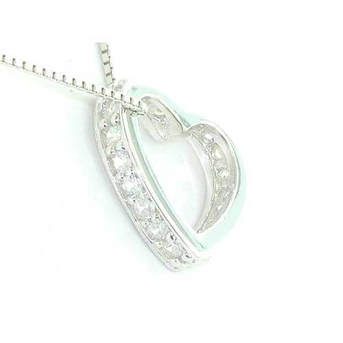Sterling Silver Modern Side Stone Set Heart Pendant Necklace