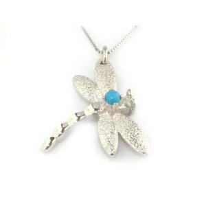 "Luxury Ladies Solid 925 Sterling Silver Turquoise Dragonfly Pendant & 16"" Sterling Silver Chain Necklace"