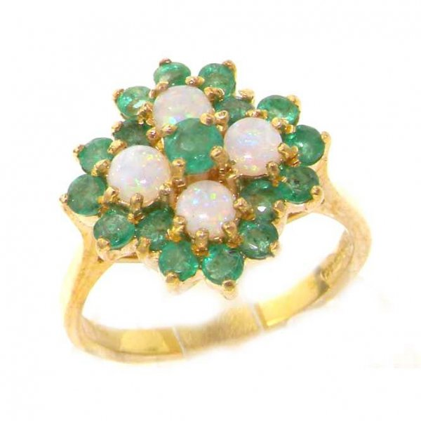 9ct Gold Emerald & Opal Ring