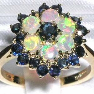 9ct Gold Large Vibrant Sapphire & Opal Ring