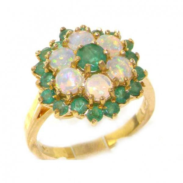 18ct Gold Emerald & Opal Cluster Ring