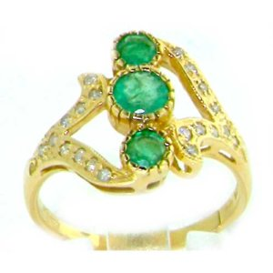 9ct Yellow Gold Emerald & Diamond Ring