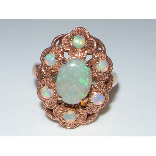 9ct Rose Gold Large Colourful Fiery Opal Ring