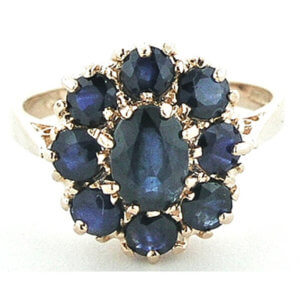 9ct Rose Gold Blue Sapphire Cluster RingFree P&P