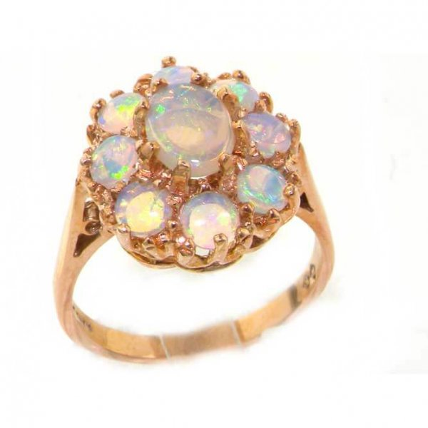 9ct Rose Gold Fiery Opal Cluster Ring