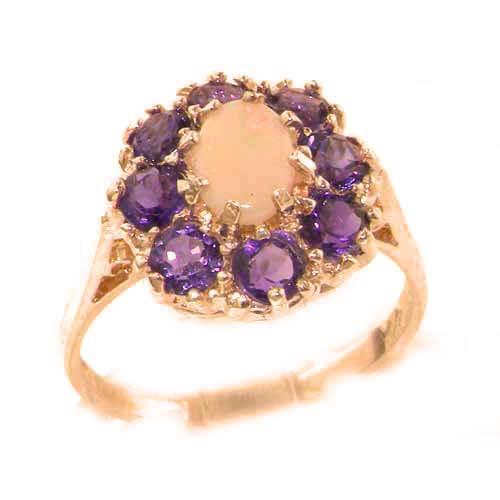 9ct Rose Gold Fiery Opal & Amethyst Ring