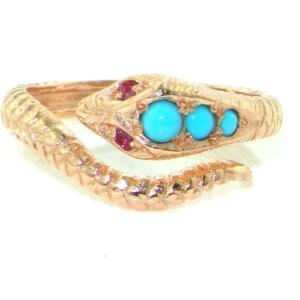 9ct Gold Rose Gold Turquoise & Ruby Snake Ring