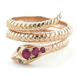 9ct Rose Gold Ruby & Tanzanite Snake RingFree P&P