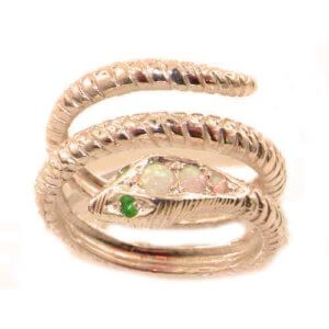 Fabulous Solid 9ct Rose Gold Natural Fiery Opal & Emerald Detailed Snake Ring