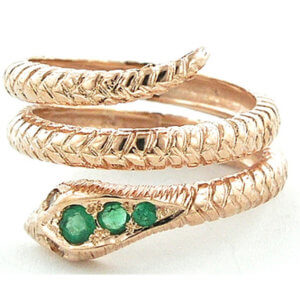 9ct Rose Gold Emerald & Tanzanite Snake Ring Free P&P