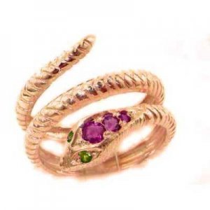 9ct Rose Gold Ruby & Emerald Snake Ring