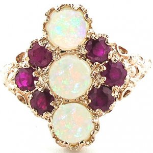Large 9ct Rose Gold Fiery Opal & Ruby Ring