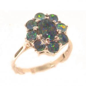 Luxury Ladies Solid 9ct Rose Gold Very Fiery Opal Cluster Ring