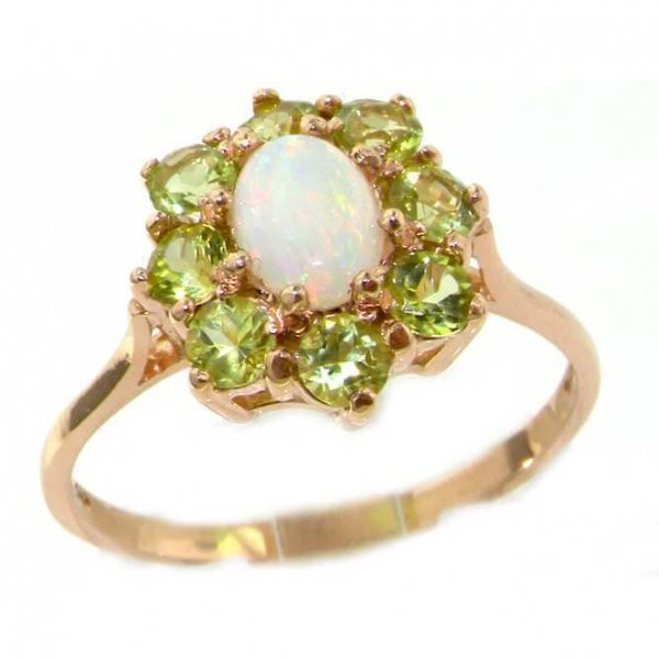 9ct Rose Gold Opal & Peridot Cluster