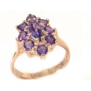 Luxury Ladies Solid British 9ct Rose Gold Natural Amethyst Cluster Ring