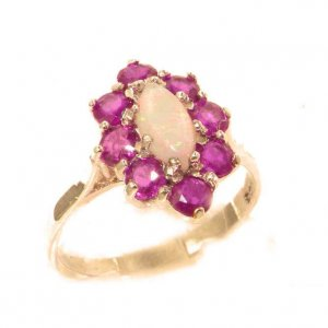 Luxury Ladies Solid British 9ct Rose Gold Natural Opal & Ruby Cluster Ring