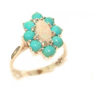 Luxury Ladies Solid British 9ct Rose Gold Natural Opal & Turquoise Cluster Ring