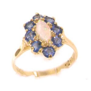 Luxury Ladies Solid 9ct Rose Gold Natural Fiery Opal & Cornflower Blue Sapphire Ring
