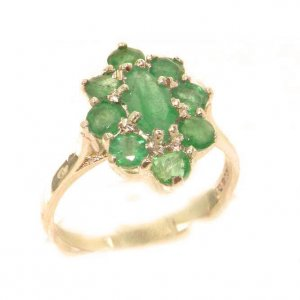 Luxury Ladies Solid British 9ct Rose Gold Natural Emerald Cluster Ring