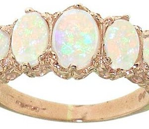 9ct Rose Gold Colourful Opal Ring
