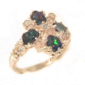 Luxury Ladies Victorian Style Solid Hallmarked 9ct Rose Gold Colorful Opal Ring