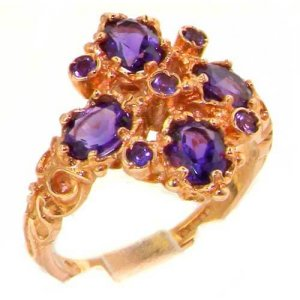 9ct Rose Gold Amethyst 9 Stone Ring