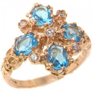 9ct Rose Gold Diamond & Blue Topaz Ring