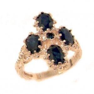 Victorian Design Solid English 9ct Rose Gold Natural Sapphire Ring