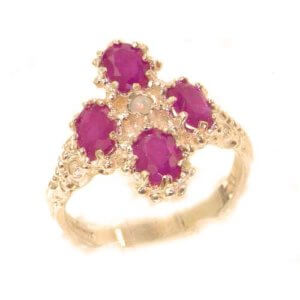 Heavy Weight Victorian Design Solid 9ct Rose Gold Natural Ruby & Fiery Opal Ring