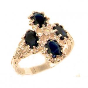 Heavy Weight Victorian Design Solid 9ct Rose Gold Natural Sapphire & Fiery Opal Ring