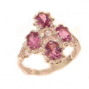 Heavy Weight Victorian Design Solid 9ct Rose Gold Natural Pink Tourmaline & Fiery Opal Ring