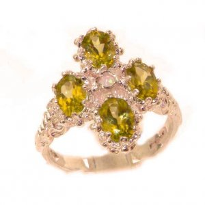 Heavy Weight Victorian Design Solid 9ct Rose Gold Natural Peridot & Fiery Opal Ring