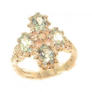 Heavy Weight Victorian Design Solid 9ct Rose Gold Natural Aquamarine & Fiery Opal Ring