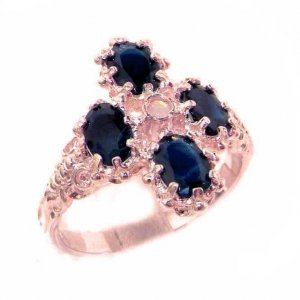 9ct Rose Gold Opal & Sapphire Ring