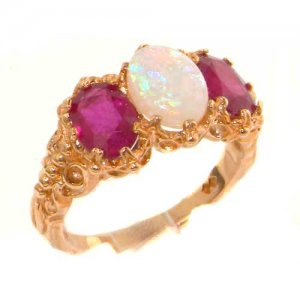 Victorian Design Solid English 9ct Rose Gold Natural Large Opal & Ruby Ladies Ring