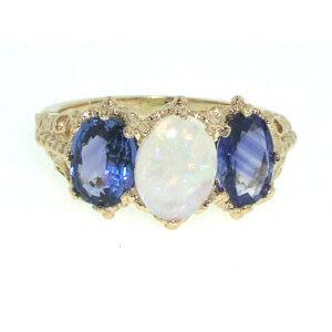 9ct Gold Fiery Opal & Ceylon Sapphire RingFree P&P