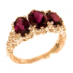 Victorian Design Solid English 9ct Rose Gold Natural 3.3ct Almandine Garnet Ladies Ring