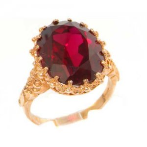 Luxury Solid 9ct Rose Gold Large 16x12mm Oval 12ct Synthetic Ruby Ring