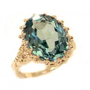 Luxury Solid 9ct Rose Gold Large 16x12mm Oval 10ct Synthetic Aquamarine Ring