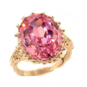 Luxury Solid 9ct Rose Gold Large 16x12mm Oval 13ct Synthetic Pink Sapphire Ring