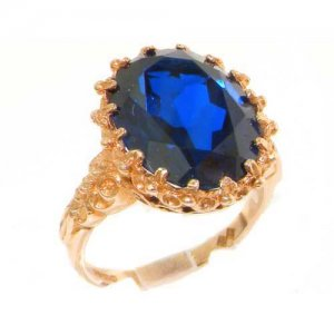 Luxury Solid 9ct Rose Gold Large 16x12mm Oval 11ct Synthetic Blue Sapphire Ring