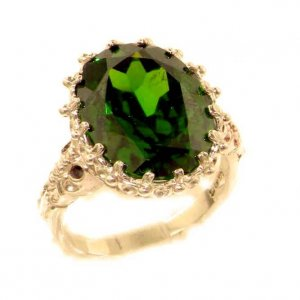 Luxury Solid 9ct Rose Gold Large 16x12mm Oval 12ct Synthetic Emerald Ring