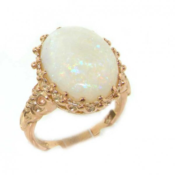 9ct Rose Gold Large 16x12 Colourful Opal Ring
