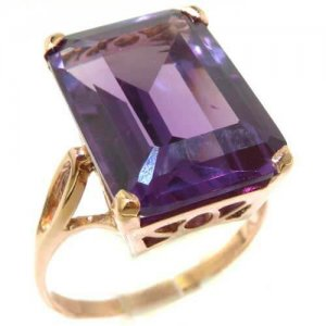Luxury Solid 9ct Rose Gold Large 16x12mm Octagon cut Synthetic Alexandrite Ring