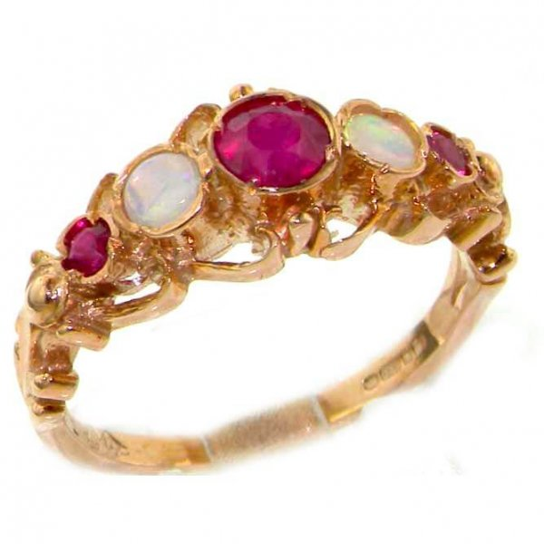 9ct Rose Gold Vibrant Ruby & Opal Ring